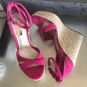 BCBGeneration pink wedge espadrille sandals